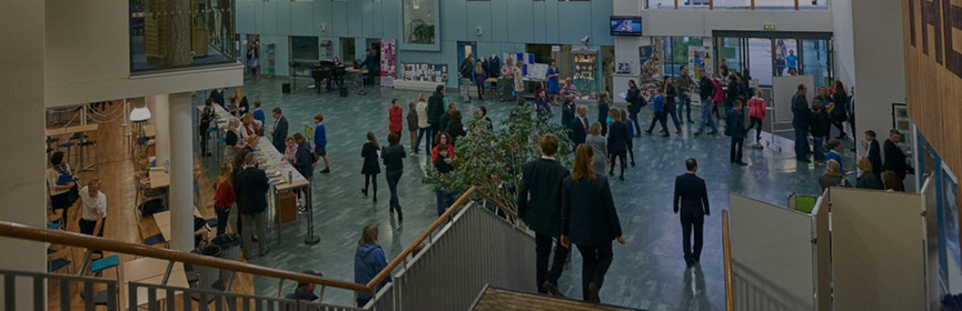 Atrium & students