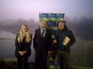 Year 11 Student Phoebe Train and teacher Jonny Friend from St John's Marlborough and Ben Prater from the BBC